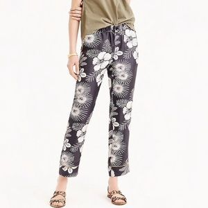 J. Crew Gray Yellow Silk Pull On Floral Pants